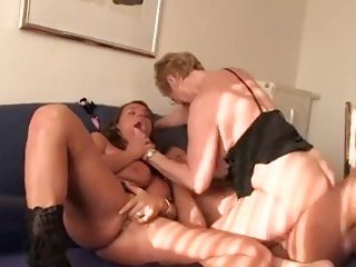 2 large titted chavettes give curt copulation to a lucky man