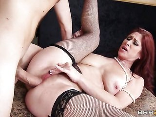 Danny D pulls out his meat pole to fuck tasty Tiffany Mynxs butt way soon this cutie collects her kisser used