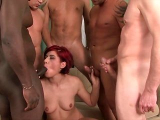 Red haired curious slut holding knobs in hfurthermores furthermore with her lips