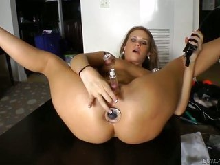 aroused girl takes a dough of kinky sexual intercourse toys more than that enters on playing with 'em. this chick pumps clitoris by vacuum pumper