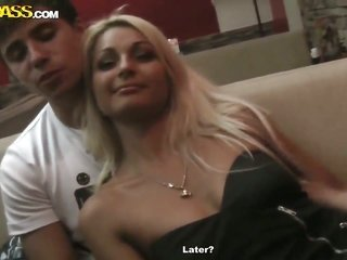 blond offers her luxurious throat to hard cocked guy