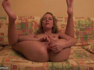 blond tart Blue beauty masturbating with pretty enthusiasm