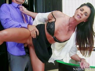 lovely lengthy legged MILF India Summer in ill-lighted petticoat to boot white blouse is his financial adviser. this chick catches her stealing compan