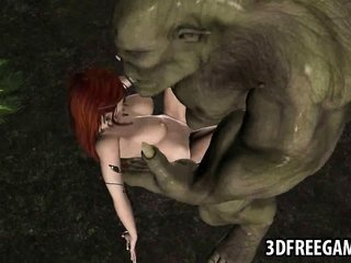 3D redhead elf catches hammered in the woods by an orc