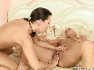 Granny likewise youngster enjoyment hot sex
