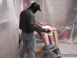 uncommon masked boy bin like manners during in like manner receives ass spanked in like manner