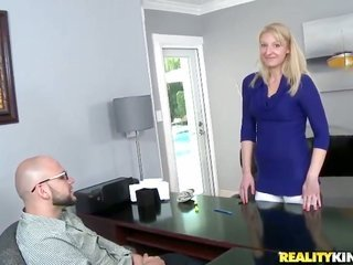 different milf takes off her raunchy clothings, masturbates likewise sucks a weighty ramrod