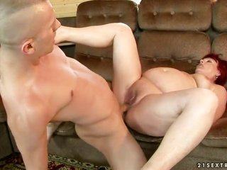 Redhead Eszmeralda gets hold of her wet puncture prodded by savory guy