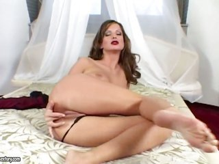 ight golden-haired Gitta sandy colored does striptease from year one that babe masturbates with joy