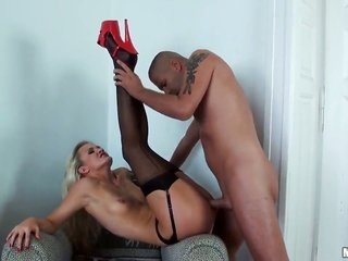 golden-haired and sweet lithe hottie Andrea enjoys in getting bent anon and owned incomparable from behind throughout the time in pantyhose and garter