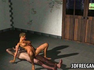 slinky 3D animation zombie girl rides a vulgar cock