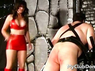 femdom babe slapping strapped down guy