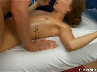 sugar honey 18 year old hardcore hitting on massage table