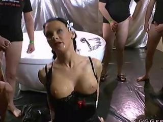 busty gark-haired sucking in bodily fluids hard