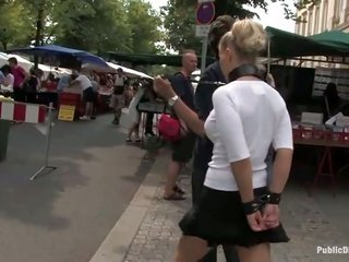 public sadism thanks to blonde bitch in leash