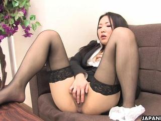 korean mademoiselle in nylon hosiery masturbates