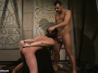 brunette Ginna has zeal in her eyes at the same time eating mans throbbing boner