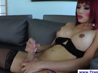 shemale Eva Lin dildofucks her ass
