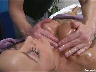breasty brunette smashed after oil massage