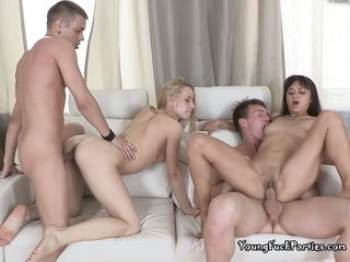 luscious youths Molly as well Janna get hold of Wild In A luscious Foursome